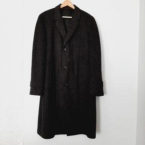 SABLERE CROMBIE Men Luxury Wool Long Overcoat L XL